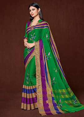 Mouni Roy Green Art Silk Cotton Saree