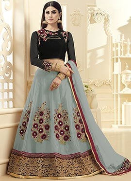 Mouni Roy Grey Georgette A Line Lehenga Choli