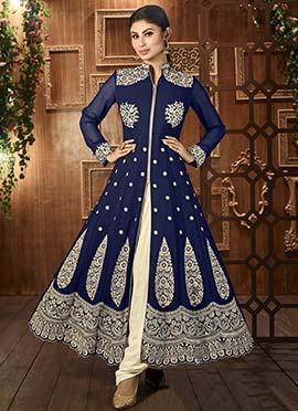Mouni Roy Navy Blue Anarkali Suit