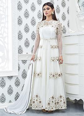 Mouni Roy Off White Jacket Style Anarkali Suit