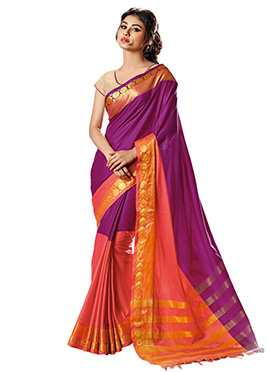 Mouni Roy Orange N Purple Saree