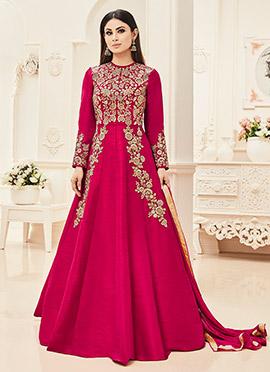 Mouni Roy Pink Abaya Style Anarkali Suit