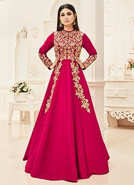 Mouni Roy Pink Abaya Style Anarkali Suit