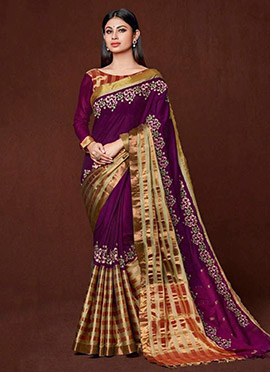 Mouni Roy Purple Art Silk Cotton Saree