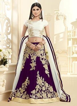 Mouni Roy Purple Georgette A Line Lehenga Choli