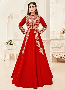 Mouni Roy Red Abaya Style Anarkali Suit
