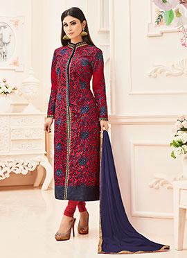 Mouni Roy Red Art Silk Churidhar Suit