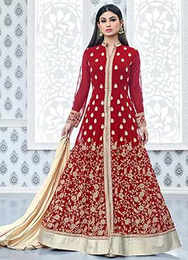 Mouni Roy Red Floor Length Anarkali Suit