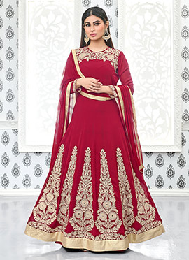 Mouni Roy Red Georgette Anarkali Suit