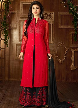 Mouni Roy Red Georgette Center Slit Palazzo Suit