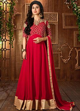 Mouni Roy Red Georgette Floor Length Anarkali Suit