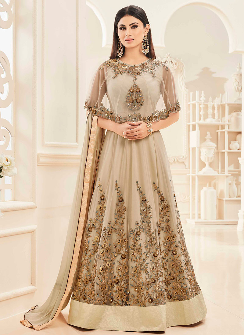 Buy Mouni Roy Beige Cape Style Anarkali Suit Umbrella