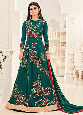Mouni Roy Teal Green Art Silk Anarkali Suit