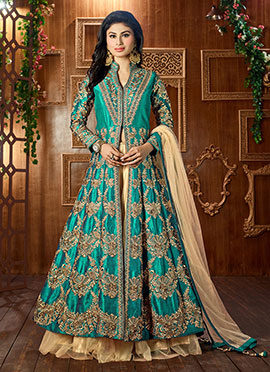 Mouni Roy Teal Green Long Choli Lehenga
