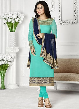 Mouni Roy Turquoise Embroidered Straight Suit