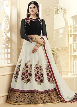 Mouni Roy White Georgette A Line Lehenga Choli