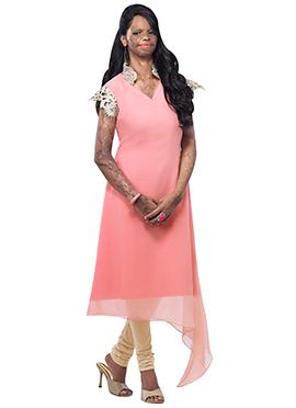 Mrs Laxmi Saa Light Pink Asymmetric Hem Tunic