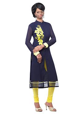 Mrs Laxmi Saa Navy Blue Georgette Kurti