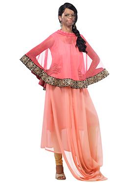 Mrs Laxmi Saa Pink N Peach Cape Style Maxi Dress