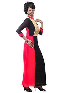 Mrs Laxmi Saa Black N Coral Pink Tunic