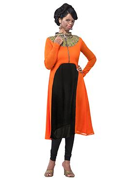 Mrs. Laxmi Saa Orange N Black Tunic