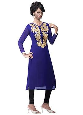Mrs Laxmi Saa Royal Blue Georgette Kurti