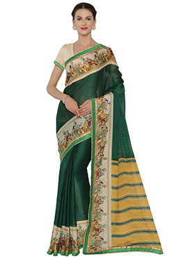 Mughal Green Chiffon Saree
