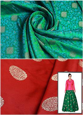 Mughal Green N Red Art Silk Skirt Set