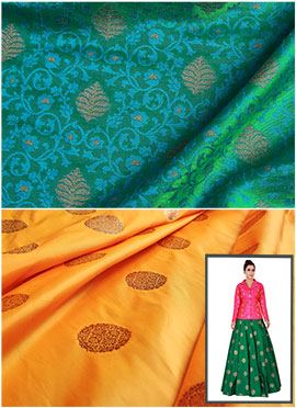 Mughal Green N Yellow Art Silk Skirt Set