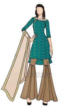 Mughal Green Up N Down Sharara Suit