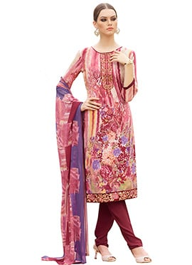 Multi Coloured Crepe Churidar Suit