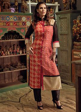 Multicolor Art Chanderi Silk Kurti