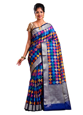 Multicolor Art Kora Silk Saree