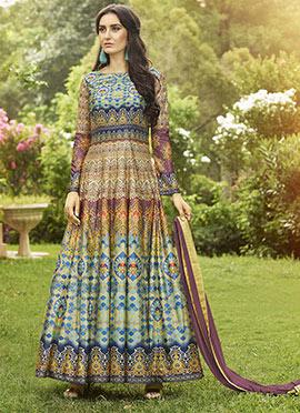 Multicolor Art Silk Abaya Style Anarkali Suit