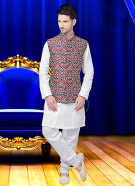 Multicolor Art Silk Brocade Nehru Jacket