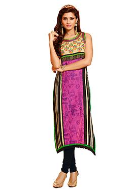 Multicolor Art Silk Churidar Suit