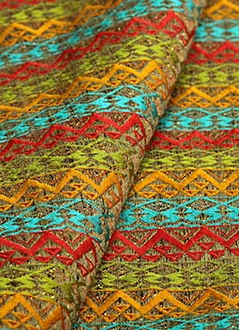 Multicolor Art Silk Jacquard Fabric