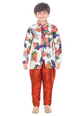 Multicolor Art Silk Kids Kurta Pyjama
