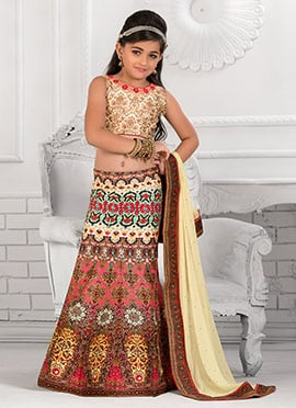 Multicolor Art Silk Kids Lehenga