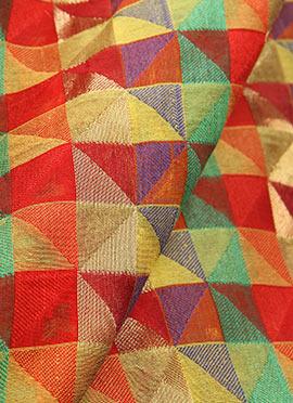 Multicolor Chanderi Art Silk Fabric
