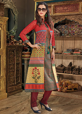 Multicolor Chanderi Cotton Kurti