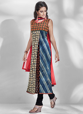 Multicolor Chanderi Silk Churidar Suit