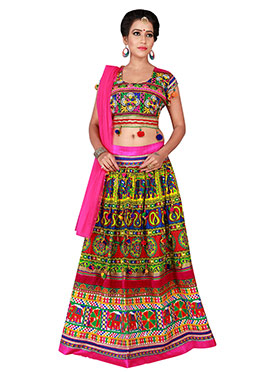 Multicolor Cotton Chaniya Choli Lehenga