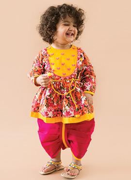 Tiber Taber Multicolor Cotton Girls Angrakha Dhoti