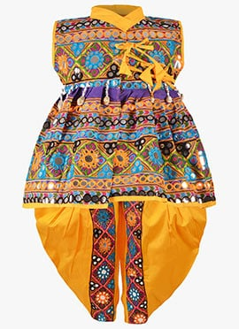 Multicolor Cotton Kids Angrakha Suit