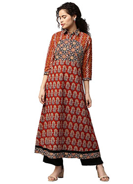 Multicolor Cotton Long Kurti
