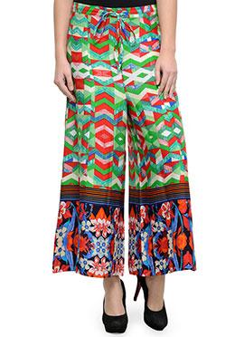 Multicolor Cotton Palazzo Pants