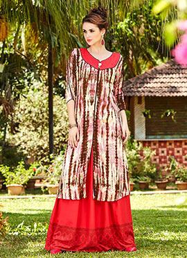 Multicolor Cotton Rayon Skirt Set