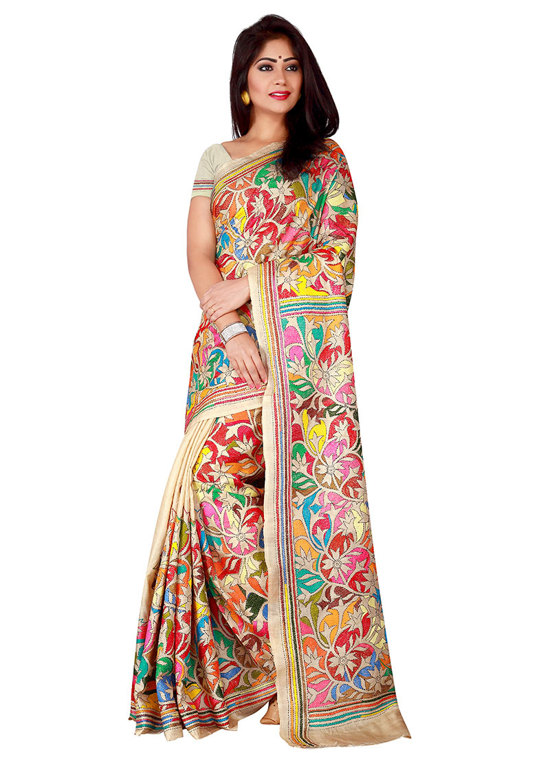 Buy multicolor pure silk kantha embroidered saree