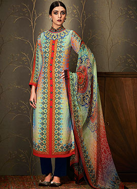 Multicolor Cotton Straight Suit